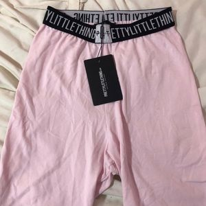 PrettyLittleThing Petite Baby Pink Biker Shorts